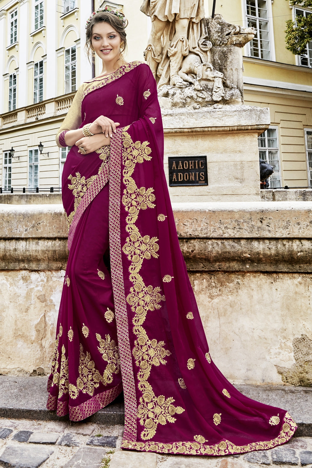 Bhelpuri Magenta Georgette Embroidered Saree with Blouse Piece