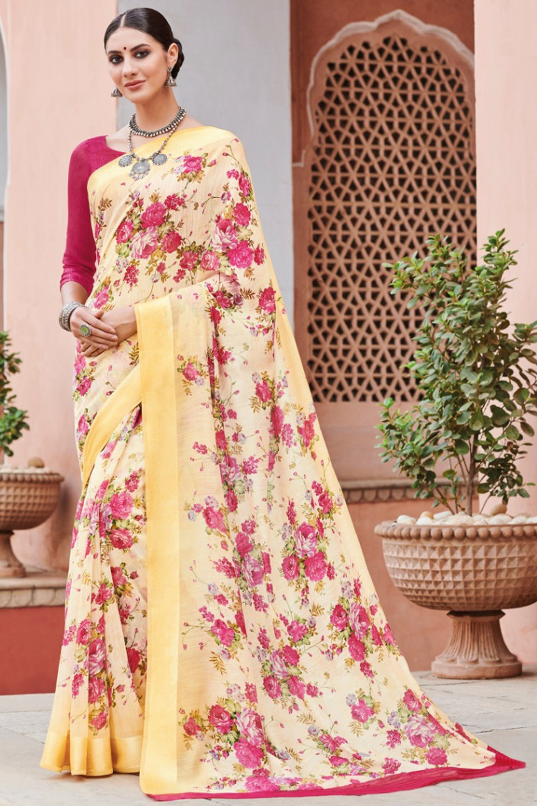 Bhelpuri Light Yellow Linen Saree