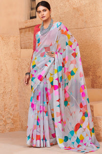 Bhelpuri Multi Colour Linen Saree