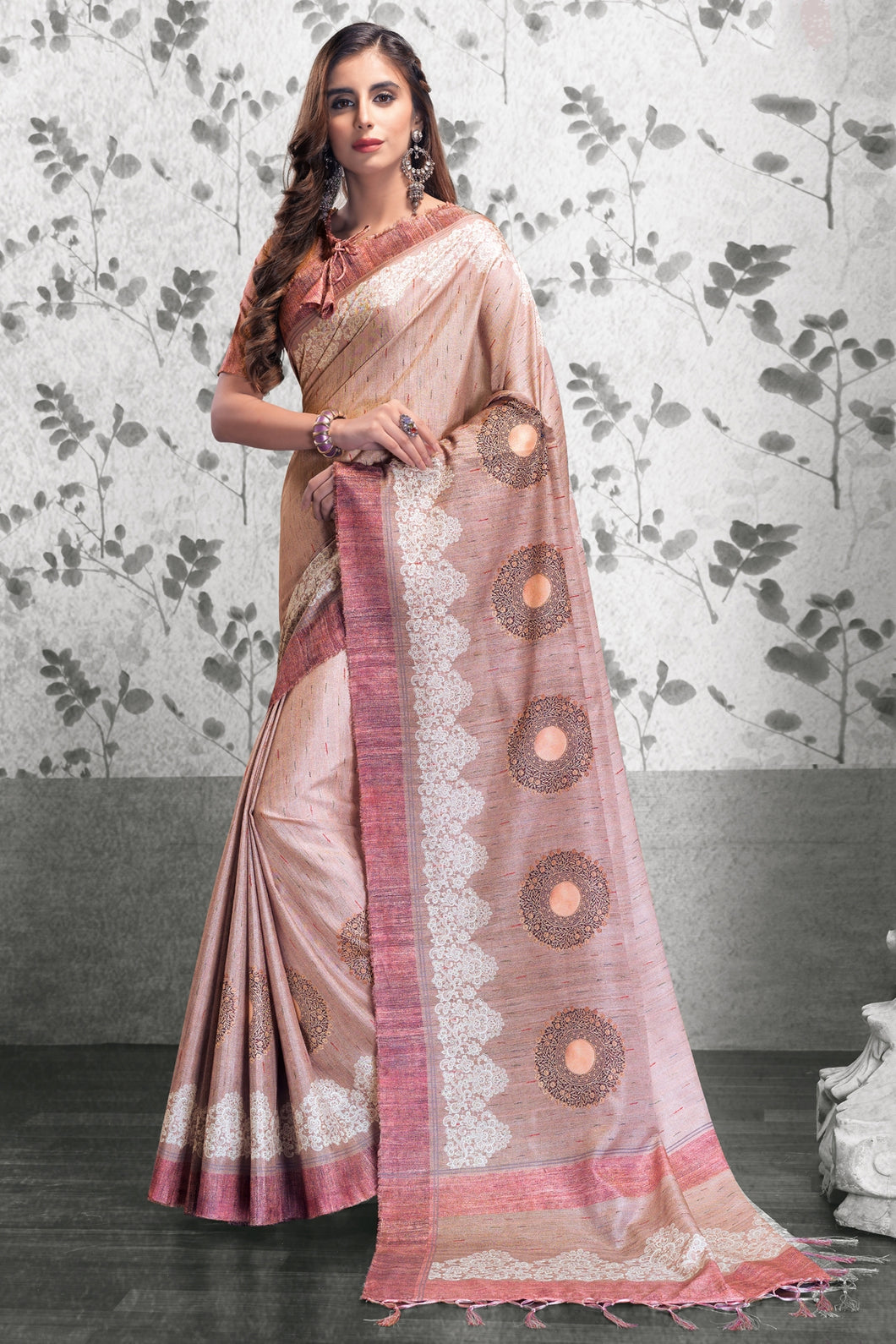 Bhelpuri Light Peach Manipuri Silk Printed Saree with Blouse Piece