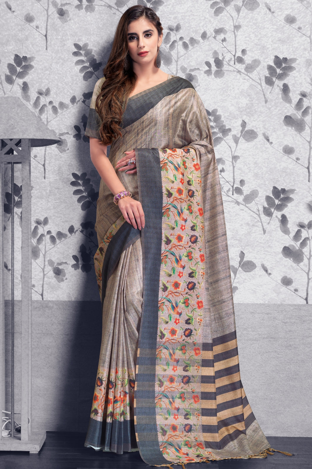 Bhelpuri Beige and Grey Manipuri Silk Printed Saree with Blouse Piece