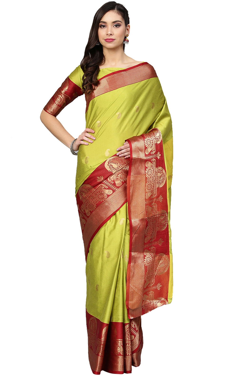 Bhelpuri Parrot Green and Red Silk Blend Saree