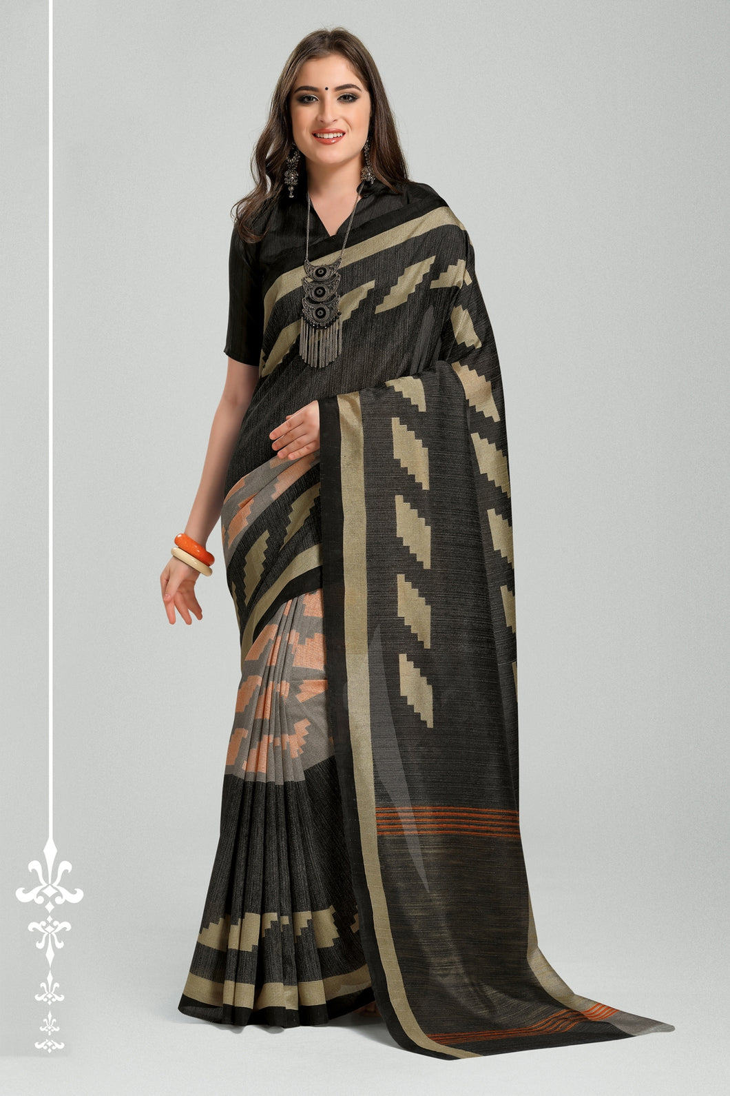 Bhelpuri Black Bhagalpuri Silk Woven Saree with Blouse Piece