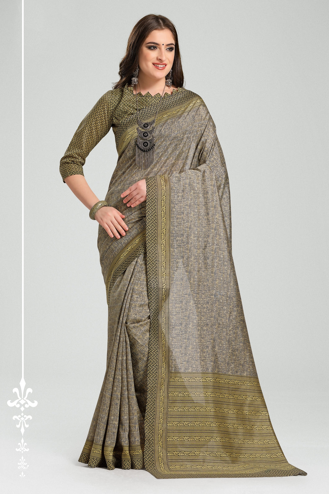 Bhelpuri Grey Bhagalpuri Silk Woven Saree with Blouse Piece