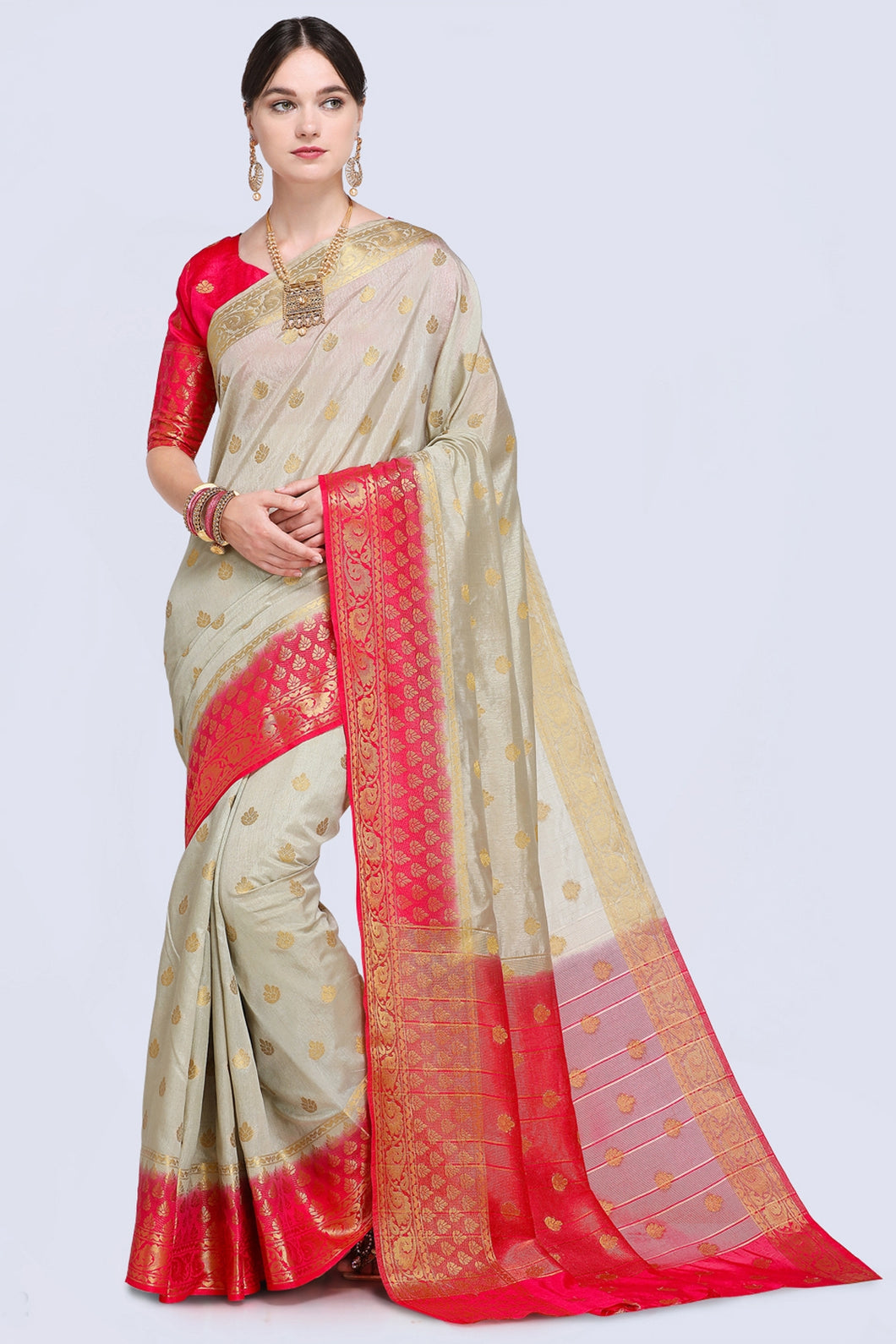 Bhelpuri Beige and Red Raw Silk Woven Saree with Blouse Piece