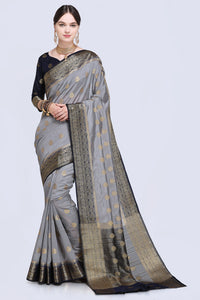 Bhelpuri Grey and Black Raw Silk Woven Saree with Blouse Piece