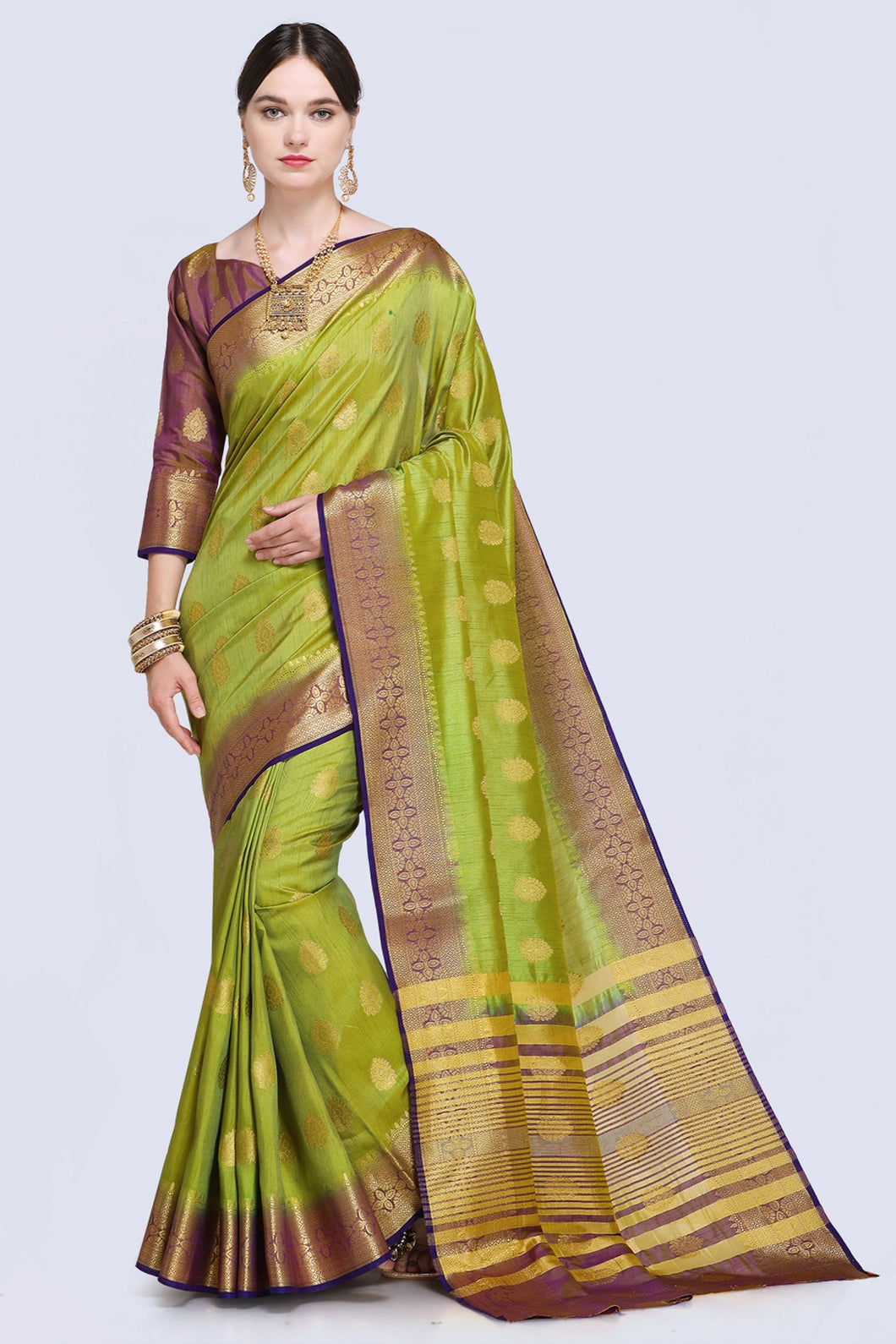 Bhelpuri Green Raw Silk Woven Saree with Blouse Piece