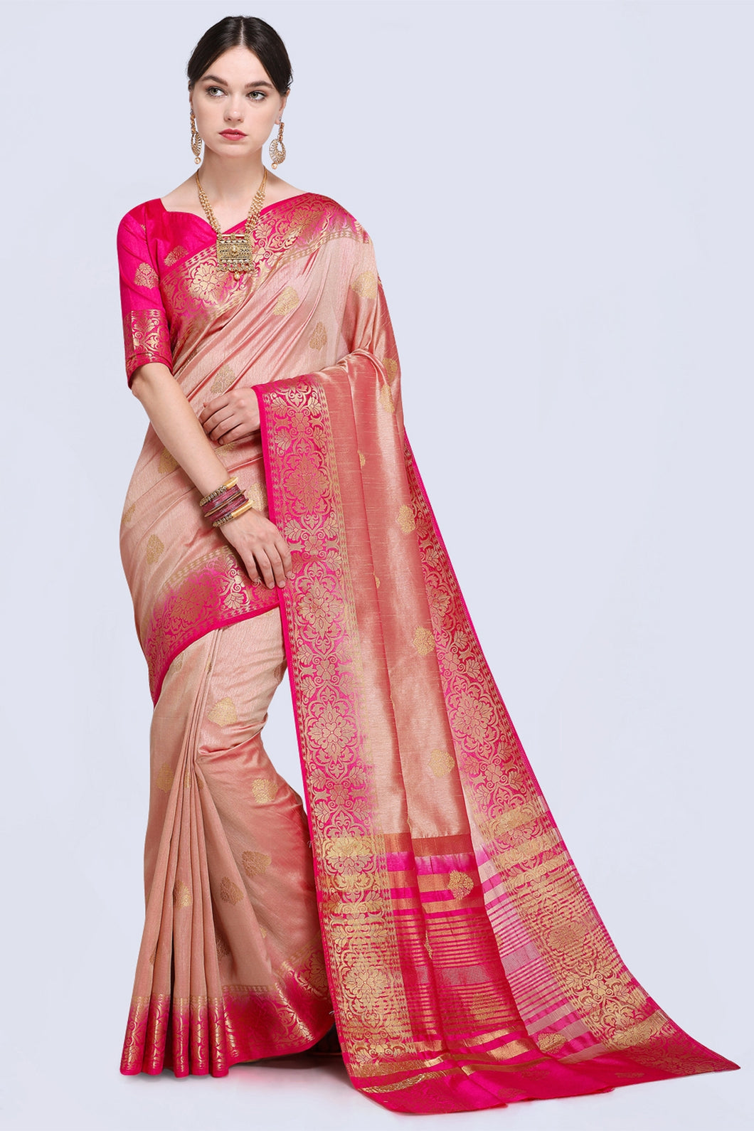 Bhelpuri Peach and Pink Raw Silk Woven Saree with Blouse Piece