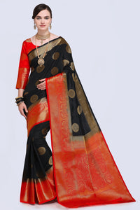 Bhelpuri Black and Red Raw Silk Woven Saree with Blouse Piece