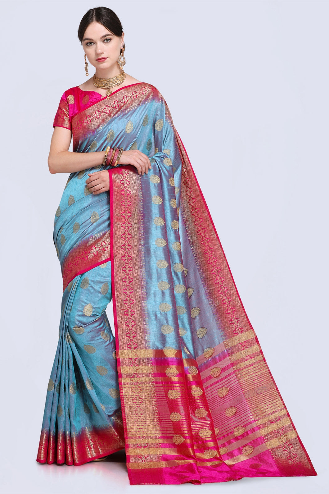 Bhelpuri Blue and Pink Raw Silk Woven Saree with Blouse Piece