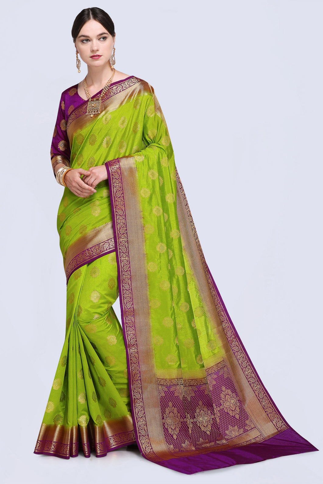 Bhelpuri Green and Purple Raw Silk Woven Saree with Blouse Piece