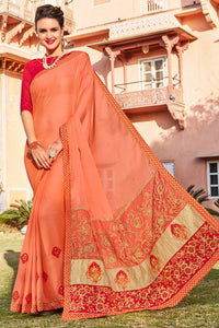 Bhelpuri Peach Georgette Embroidered Lace Border Saree with Blouse Piece
