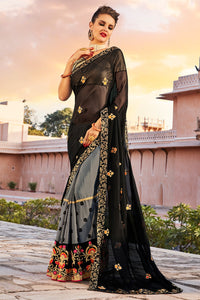 Bhelpuri Black And Grey Georgette Embroidered Lace Border Saree with Blouse Piece