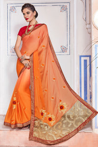 Bhelpuri Peach And Orange Georgette Embroidered Lace Border Saree with Blouse Piece