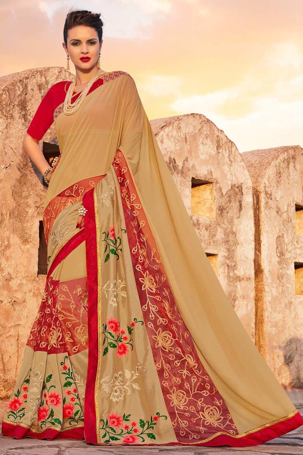 Bhelpuri Beige Georgette Embroidered Lace Border Saree with Blouse Piece