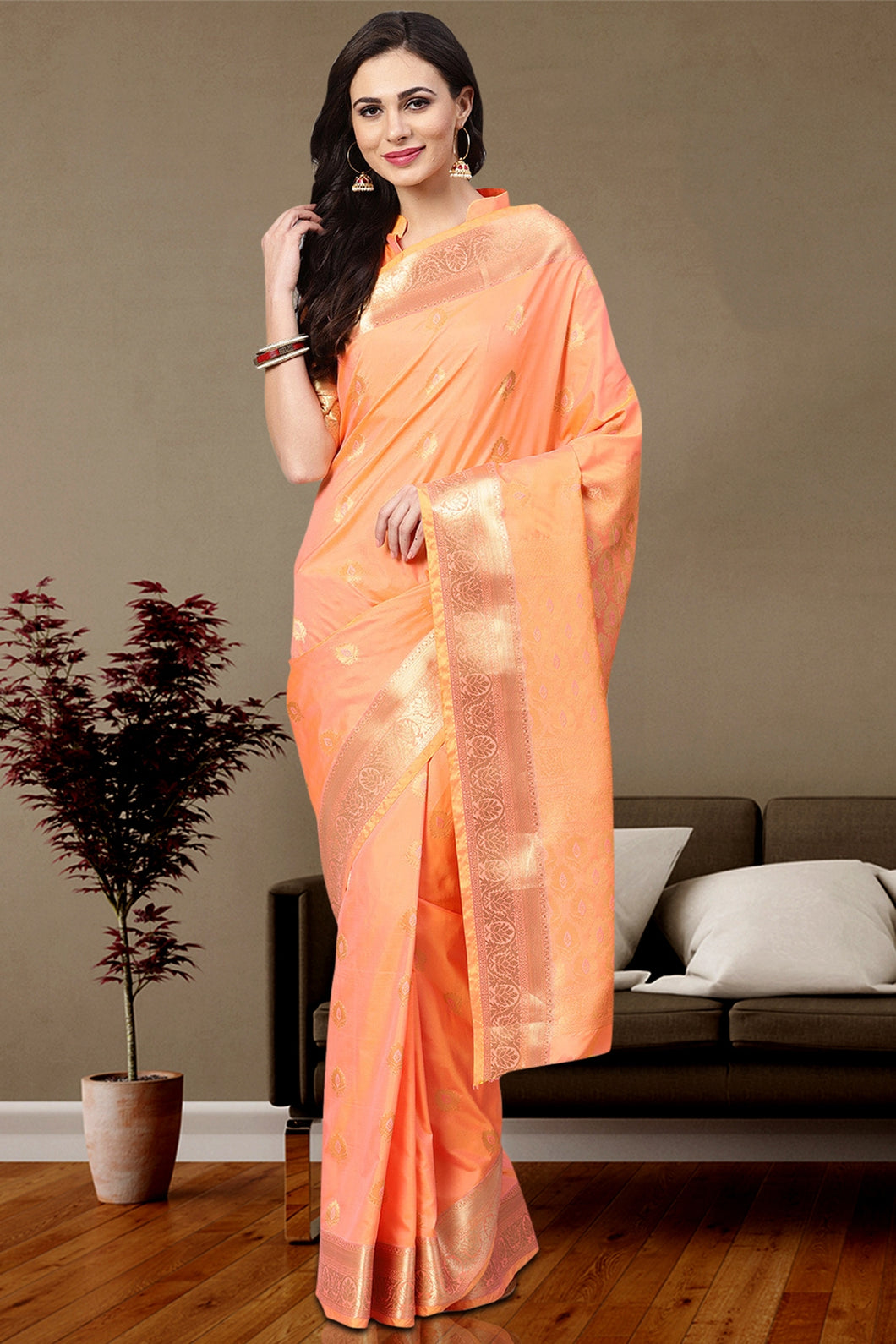 Bhelpuri Peach Silk Woven Designer Party Wear Saree with Silk Blouse Piece
