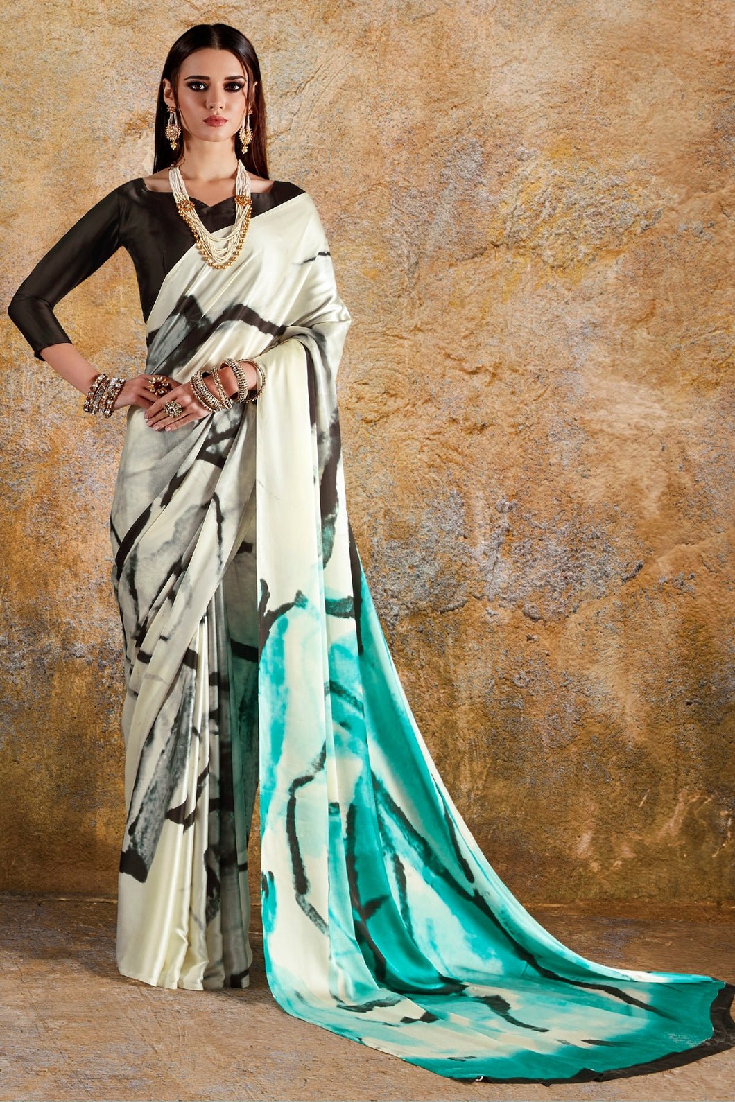 Bhelpuri Cream & Turquoise Crepe Designer Printed Saree with Black Crepe Blouse Piece