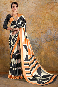 Bhelpuri Cream & Orange Crepe Designer Printed Saree with Black Crepe Blouse Piece