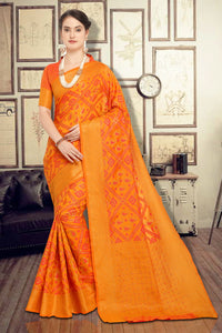 Bhelpuri Mustard Soft Silk Woven Saree with Blouse Piece