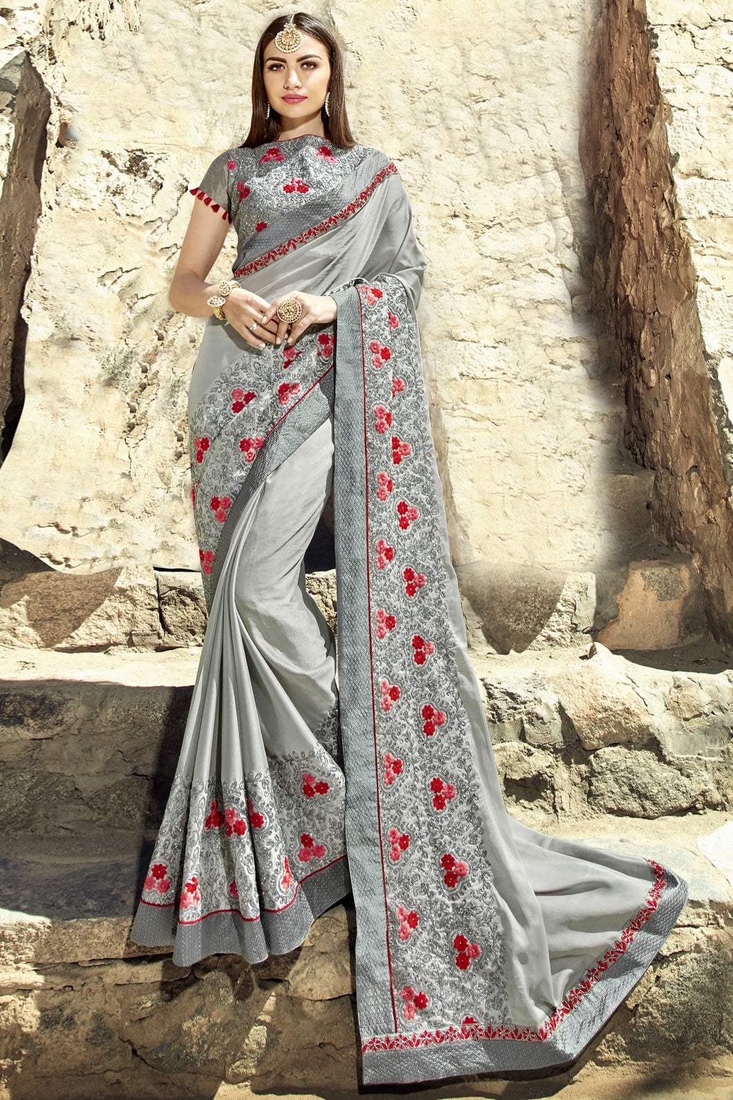 Bhelpuri Grey Georgette Embroidered Lace Border Designer Party Wear Saree with Banglori Silk Blouse Piece