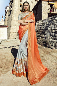 Bhelpuri Grey & Orange Georgette Embroidered Lace Border Designer Party Wear Saree with Banglori Silk Blouse Piece