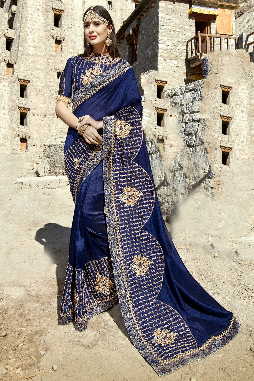 Bhelpuri Navy Blue Georgette Embroidered Lace Border Designer Party Wear Saree with Banglori Silk Blouse Piece