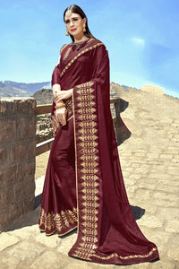 Bhelpuri Maroon Georgette Embroidered Lace Border Designer Party Wear Saree with Banglori Silk Blouse Piece