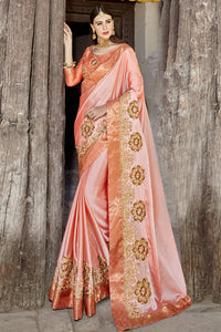 Bhelpuri Peach Georgette Embroidered Patch Work Lace Border Designer Party Wear Saree with Banglori Silk Blouse Piece