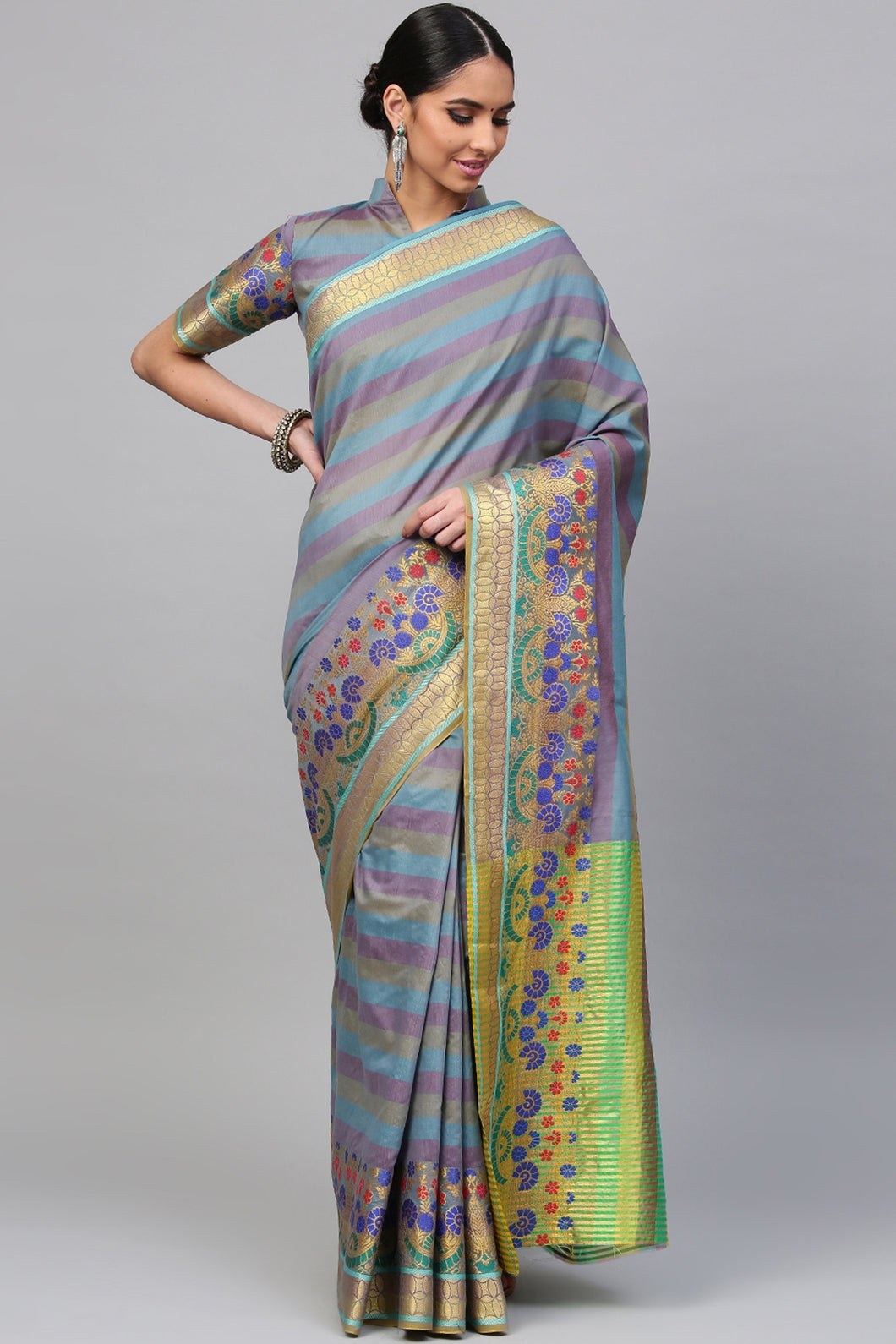 Bhelpuri Light Purple Cotton Silk Saree