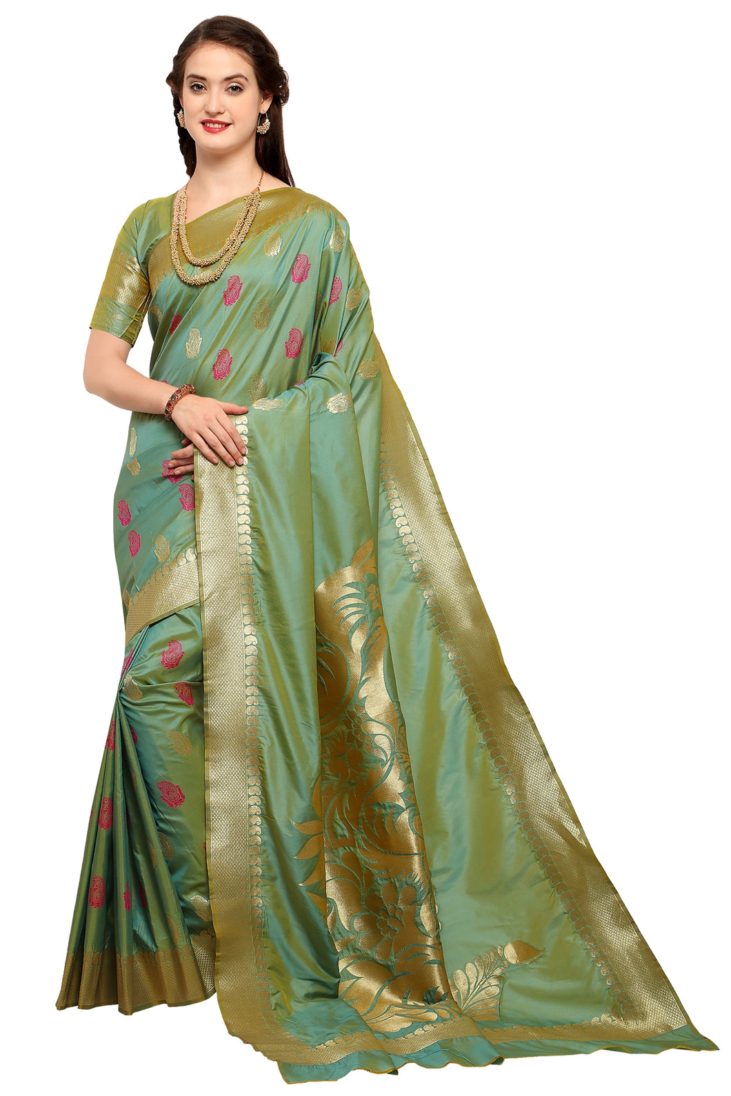 Bhelpuri Olive Green Raw Silk Woven Dhoop Chhaon Saree with Blouse Piece