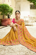 Load image into Gallery viewer, Bhelpuri Mustard Raw Silk Saree with Embroidered Blouse Piece