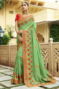 Bhelpuri Green Raw Silk Saree with Embroidered Blouse Piece