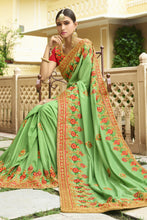 Load image into Gallery viewer, Bhelpuri Green Raw Silk Saree with Embroidered Blouse Piece