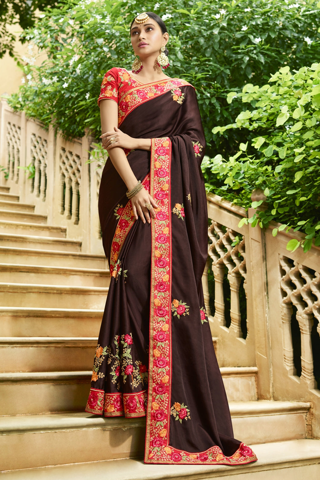 Bhelpuri Brown Raw Silk Saree with Embroidered Blouse Piece