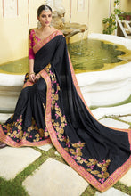 Load image into Gallery viewer, Bhelpuri Black Raw Silk Saree with Embroidered Blouse Piece