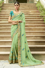 Load image into Gallery viewer, Bhelpuri Light Green Raw Silk Saree with Embroidered Blouse Piece