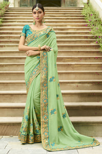 Bhelpuri Light Green Raw Silk Saree with Embroidered Blouse Piece