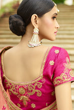 Load image into Gallery viewer, Bhelpuri Peach Raw Silk Saree with Embroidered Blouse Piece