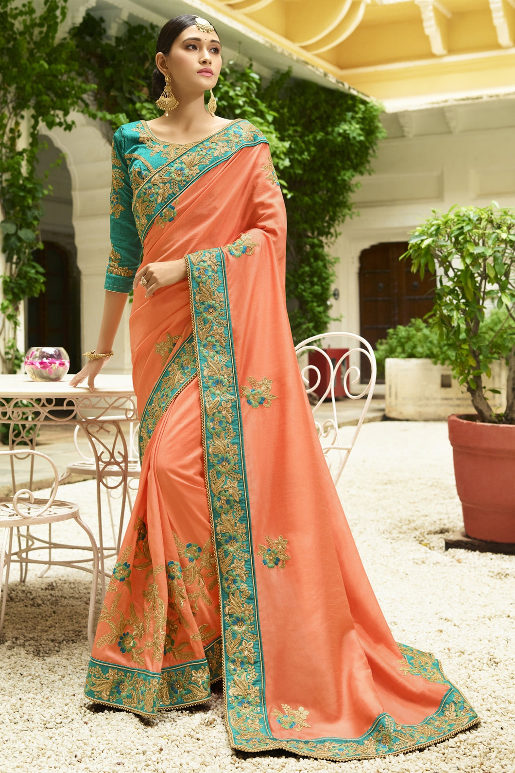 Bhelpuri Peach Raw Silk Saree with Embroidered Blouse Piece