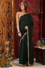 Load image into Gallery viewer, Bhelpuri Dark Green Georgette Designer Party Wear Saree with Blouse Piece