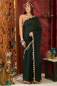 Bhelpuri Dark Green Georgette Designer Party Wear Saree with Blouse Piece
