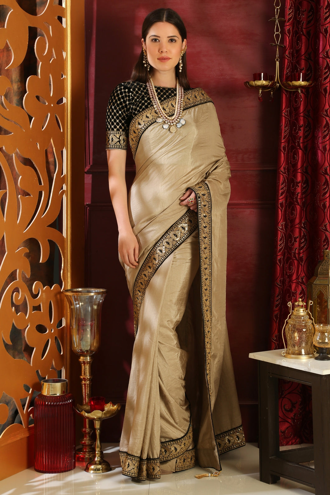 Bhelpuri Black Silk Sequence Embroidered Designer Party Wear Saree with Blouse Piece