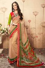 Load image into Gallery viewer, Bhelpuri Beige Georgette Printed Saree with Printed Blouse Piece