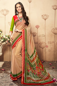 Bhelpuri Beige Georgette Printed Saree with Printed Blouse Piece