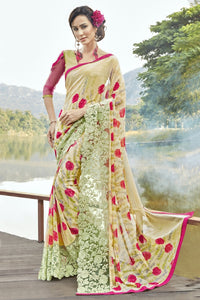 Bhelpuri Beige Georgette Printed Saree with Blouse Piece