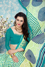 Load image into Gallery viewer, Bhelpuri Green Faux Georgette Printed Saree with Green Blouse Piece