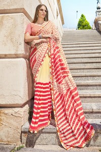 Bhelpuri Cream and Red Georgette Printed Saree with Orange Blouse Piece