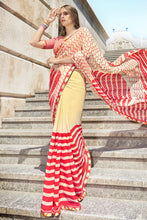 Load image into Gallery viewer, Bhelpuri Cream and Red Georgette Printed Saree with Orange Blouse Piece