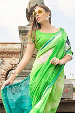 Load image into Gallery viewer, Bhelpuri Green and Turquoise Georgette Printed Saree with Green Blouse Piece