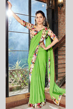 Load image into Gallery viewer, Bhelpuri Green Georgette Saree with Printed Blouse Piece